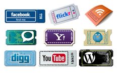 Imagery Investigation: Cute retro ticket icons. Has Facebook, Twitter, and RSS. (I like the YouTube one too).