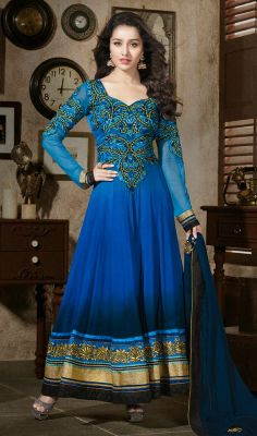 Royal Shraddha Kapoor Georgette Long Length Anarkali Suit Let your presence be like the sunshine in a cloudy day as Shraddha Kapoor with this royal blue shade faux georgette long length Anarkali suit. Embroidered foliage patterned neck patch and bold hemline bestows the attire with a perfect chic allurement. #BuyAnarkaliSalwarKameez #ChuridarAnarkaliSalwar