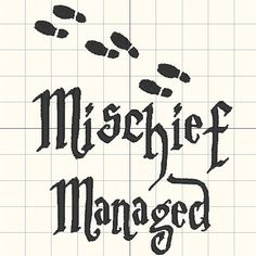 Mischief Managed Embroidery design pattern 4 x 4 inches - INSTANT Download