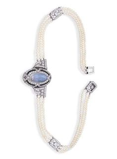 AN ART DECO MOONSTONE INTAGLIO, DIAMOND AND SEED PEARL NECKLACE/BROOCH, BY HARDY & HAYES CO.