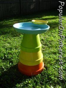 Terra cotta flower pot bird bath.  Would be a fun project to do with Aly :-)