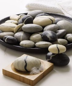 Soaps shaped like stones from a bubbling brook.
