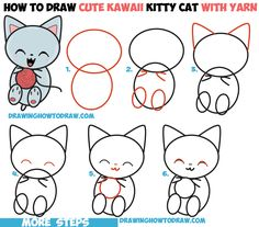 How to Draw Cute Kawaii Kitten / Cat Playing with Yarn Easy Step by Step Drawing Tutorial for Kids