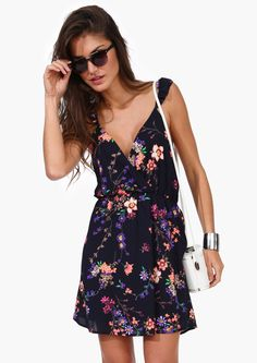Crossover Floral Dress