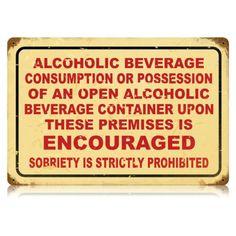 Drinking Encouraged Vintage Metal Sign