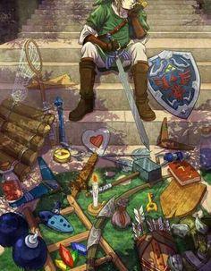 Link, stuff, supplies; The Legend of Zelda