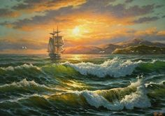 Buying and selling paintings, artworks. Ship Paintings, Selling Paintings, Seascape Paintings, Landscape Paintings, Bateau Pirate, Old Sailing Ships, Boat Painting, Sea Art, Fantasy Landscape