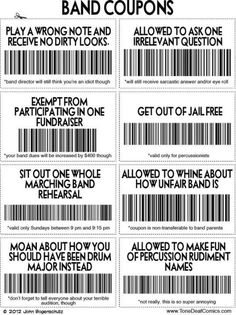 Marching band coupons - wish my band director had given these out!