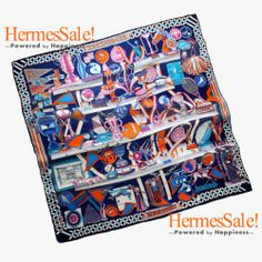 Hermes Les Trophees 140cm Navy Cashmere Shawl