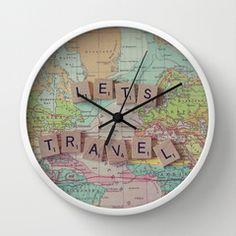 Let's Travel Wall Clock by Debbie Wibowo | Society6