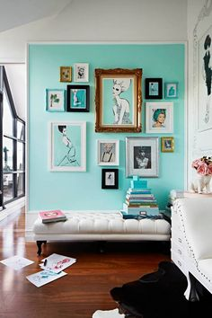 I like the way the art background matches the wall color - Daily Dream Decor Turquoise Walls, Light Turquoise, Aqua Blue, Turquoise Bedrooms, Turquoise Office, Light Teal, Aqua Color, Mint Green, Interior And Exterior