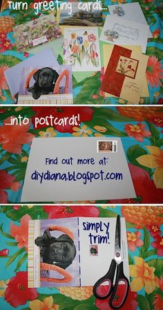 DIY Diana: Recycle Greeting Cards into Postcards