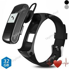 Presell F50 Smart Bracelet Bluetooth Headset MP3 Player USB Disk Call SMS Reminder Pedometer Sleep Heart Rate Monitor E-516482