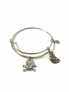 Pirate Ship Expandable Bracelet Pirate Ship Wire Stacking Bracelet Pirate Charm Bangle Skull and Crossbones Adjustable Wire Bracelet (SP17) by JulemiJewelry on Etsy