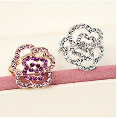 Fashion Crystal Alloy Gold Plated Rose Style Women's Ring, 2 color available