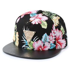 Floral and leather? Flat Bill Hats, Flat Hats, Cute Caps, Cool Hats, Snapback Cap, Headgear, Women's Accessories, Tropical, My Style