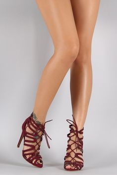 Suede Strappy Corset Lace Up Stiletto Heel