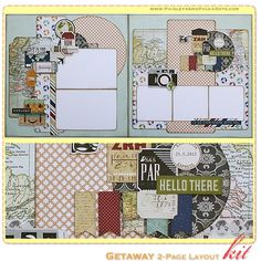 Getaway Scrapbook Layout Kit, complete with instructions, by PaisleysandPolkaDots.com for a limited time featured at www.scrapclubs.com