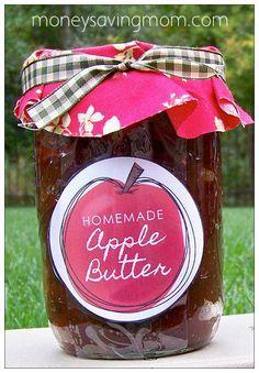 Crockpot Apple Butter Recipe (plus free printable labels!)