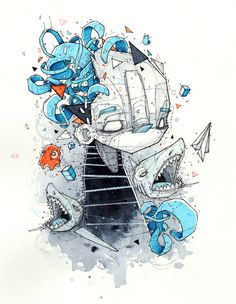 During the night - illustrations by Monsta , via Behance