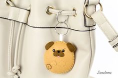 Cane CARLINO portachiavi in feltro accessorio borsa di Lanatema