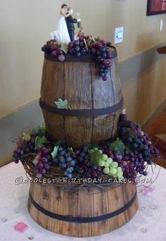 Unique Vineyard Wedding Cake... a creative homemade wine barrel cake idea.