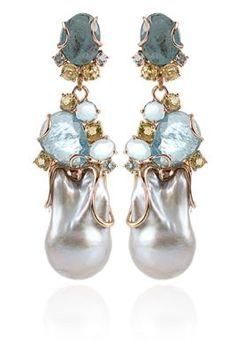 Federica Rettore / Baroque Pearl and Aquamarine Earrings