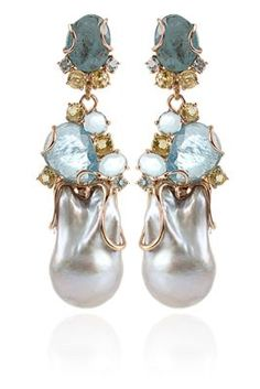 Federica Rettore / Baroque Pearl and Aquamarine Earrings