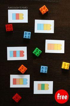 Pareamento com cartões e lego. Reproduzir de acordo com o que é indicado no cartão. Trabalha diversas habilidades.