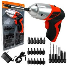 Trademark Commerce 75-60100 Trademark Tools 25 piece 4.8V Cordless Screwdriver with LED