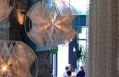 super cool string art lamps at la condesa in austin.