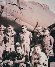 Clark Gable, on return from his fifth mission, in a B-17 Flying Fortress, with the 351st Bomb group (b/w photo)