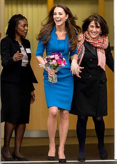 Kate Middleton wears a royal blue LK Bennett dress at the ICAP Art Room opening in London on Valentine's Day