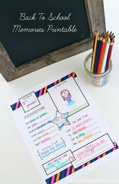 Back 2 School Memories Printable - free download on { lilluna.com } Such a great print to remember those school memories!