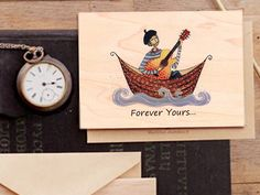 Valentine's Day Wood card  Forever Yours...  I by COZYWOODshop, $7.50