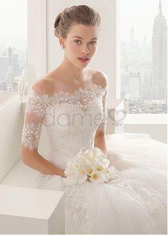 Prinzessin Schatz Ausschnitt Satin Tüll Spitze schulterfrei aufgeblähtes Brautkleider