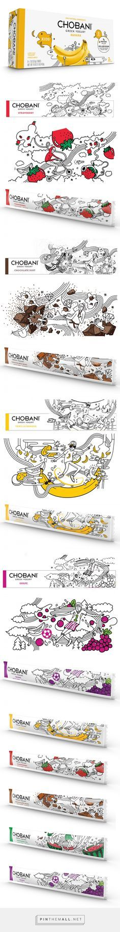 Chobani Yogurt Kids — The Dieline - Branding & Packaging. - a grouped images picture - Pin Them All Yogurt Packaging, Kids Packaging, Fruit Packaging, Food Packaging Design, Brand Packaging, Branding Design, Coffee Packaging, Bottle Packaging, Corporate Design