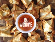 Crab wontons made from just five ingredients - cream cheese, crab, ginger, green onion & wonton wrappers. So yummy & the satisfaction of creating them yourself!