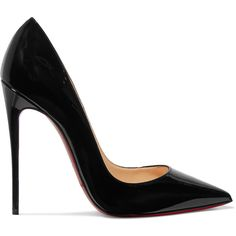 Christian Louboutin So Kate 120 patent-leather pumps ($560) ❤ liked on Polyvore featuring shoes, pumps, heels, christian louboutin, sapatos, pointy toe pumps, black pointed-toe pumps, slip on shoes, black high heel shoes and slip-on shoes