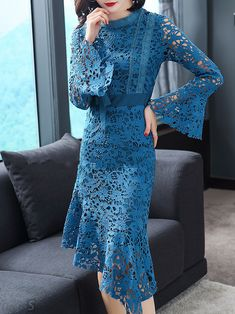 Asymmetrical Floral Hollow Out O-Neck Flare Sleeves Midi Dresses Lace Mermaid, Mermaid Dresses, Mermaid Midi Dress, Midi Dress With Sleeves, Lace Dress, Casual Dresses, Fashion Dresses, Midi Dresses, Dress Brokat