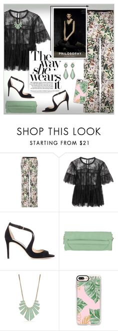 """""""Philosophy by Alberta ferretti"""" by alves-nogueira ❤ liked on Polyvore featuring Philosophy di Lorenzo Serafini, Jimmy Choo, Philosophy di Alberta Ferretti, New Directions, Casetify and Lagos"""