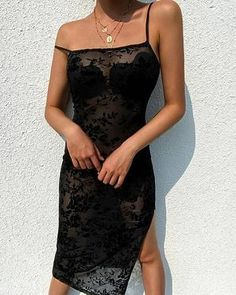 Sexy Mesh Flower Embroidery Spaghetti Strap Slit Dress – Dressisi Sexy Dresses, Casual Dresses Plus Size, Fall Dresses, Dresses For Sale, Long Dress With Slit, Slit Dress, Mesh Dress, Maxi Dress With Sleeves, Matric Farewell Dresses
