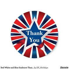 Red White and Blue Sunburst Thank You Classic Round Sticker - Add a pop of patriotic color to your projects with this bright bold sticker featuring a blue star surrounded by a red white and blue sunburst pattern. Sold at DP_Holidays on Zazzle.