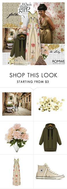 """""""ROMWE Green Sweatshirt"""" by bklana ❤ liked on Polyvore featuring Temperley London, Converse, Vintage Addiction, romwe and publipost"""