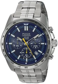 Pulsar Men's Quartz Stainless Steel Dress Watch, Color: Silver-Tone (Model: PZ5001). Round watch featuring luminous hands/indices, three subdials, and date window. Also features power reserve indicator and split-time measurement. 45 mm stainless steel case with mineral dial window. Japanese quartz movement with analog display. Stainless steel bracelet with fold-over clasp with single push-button safety closure. Water resistant to 100 m (330 ft): In general, suitable for swimming and...