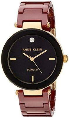 Anne Klein Women's Quartz Metal and Ceramic Dress Watch, Color:Red (Model: >>> To view further for this item, visit the image link. Trendy Watches, Cute Watches, Best Watches For Men, Sport Watches, Anne Klein, Seiko Watches, Beautiful Watches, Luxury Watches, Fashion Watches