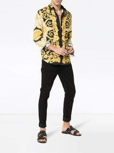 549010415fc1e Versace Baroque Print Cotton Shirt - Farfetch