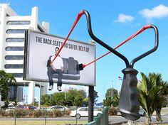 """The Back Seat's No Safer. Belt Up"". Agency: Clement BBDO, Australia. http://funny-billboards.blogspot.it/2008/01/belt-up.html"