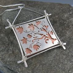 annewalkerjewelry - Maple Tree Pendant, Sterling Silver and Copper