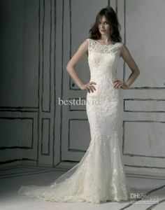 Affordable Wedding Gowns Cheap Bateau Lace Mermaid Wedding Dress Applique Detachable Veil Chapel Train Bridal Gowns 8530 Bridal Dress 2015 From Bestdavid, $178.02| Dhgate.Com